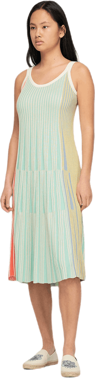 Pleated Knit Midi Dress Multi