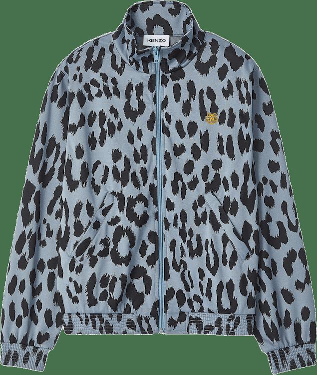 Leopard Zipped Jacket Blue