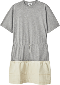 Dual Material T-shirt Dress Gray