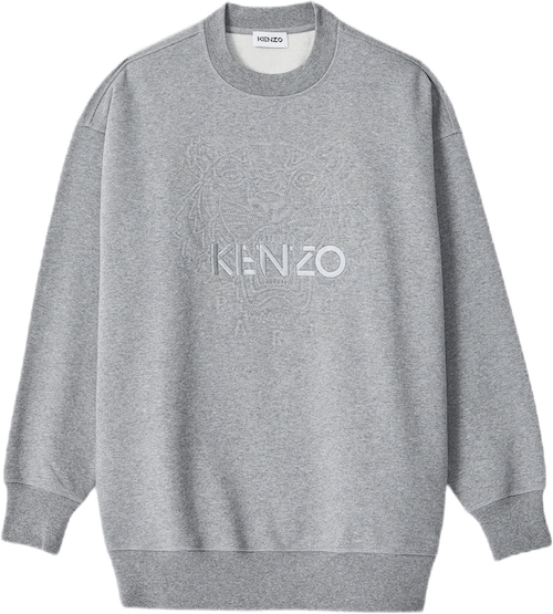 Loose Embossed Tiger Sweatshir Gray