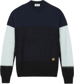 Mohair Colourblock Jumper Blue