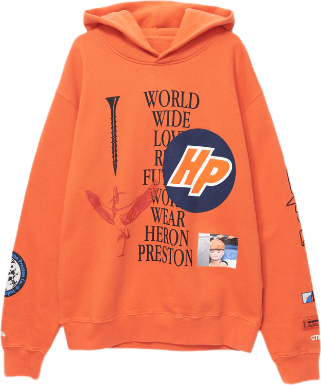Hoodie Plain Collage Orange