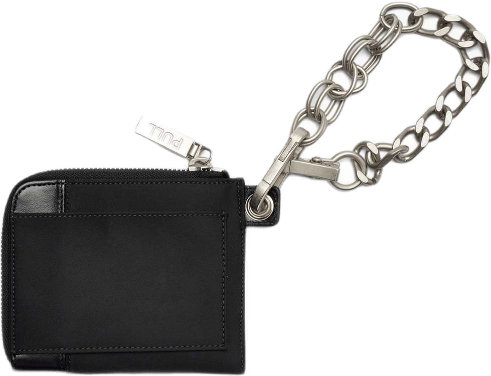 Nylon Leather Chain Wallet Black