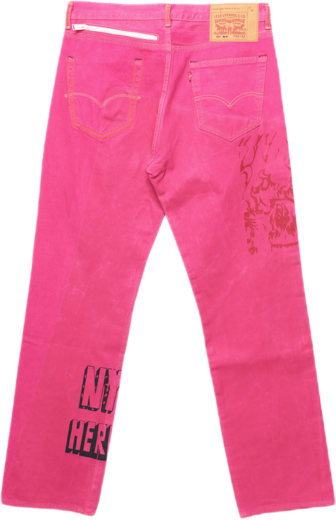 X Levis 501 Garment Dye Fuchsi Pink