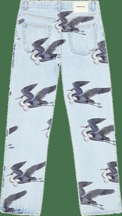 Printed 5 Pockets Vintage Blue