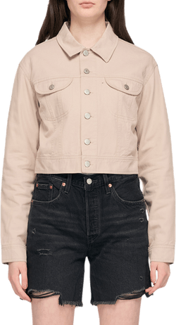 Cropped Twill Jacket Gray
