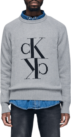 Mirrored Monogram Cn Sweater Gray