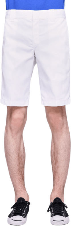 11´ Slim Straight Work Shorts White