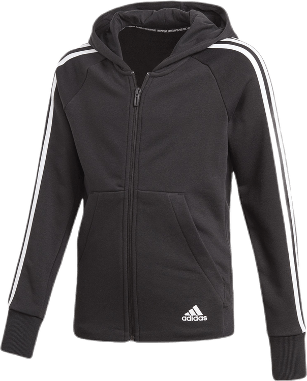 3 Stripe Girls Front Zip Hoodie White/Black