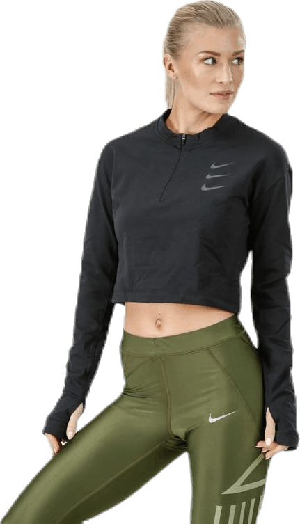 Running Division Warm Top Crop Black