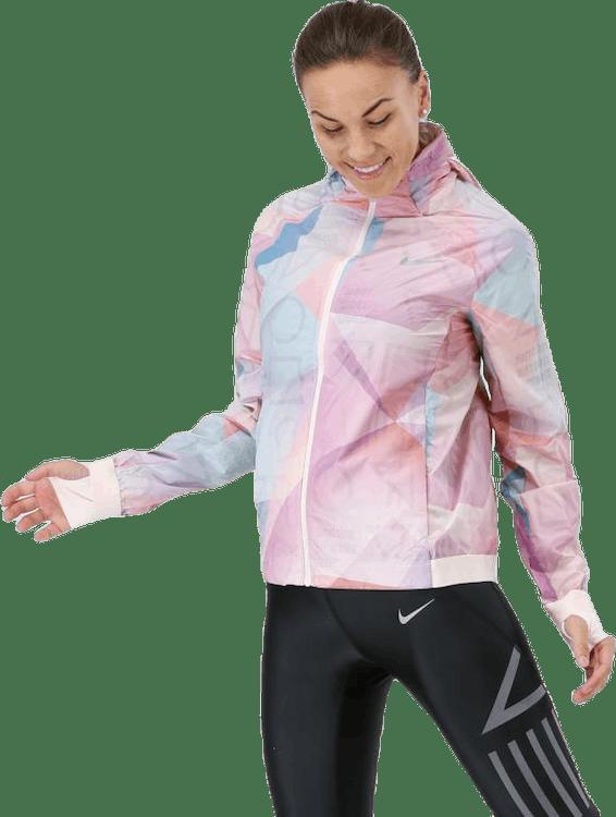 Shield Hood Printed Flash Jacket Pink/White