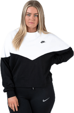 Fleece Crew LS Plus White/Black