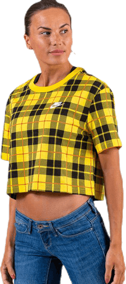 Nsw Futura Plaid Crop Tee Yellow