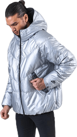 Down Fill Metallic Hood Jacket Silver