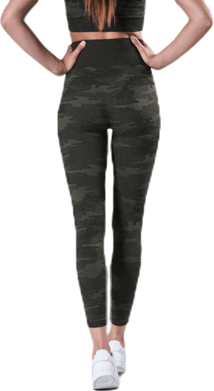 Fitness Seamless Tights 7/8 Patterned/Green