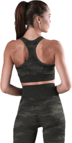Fitness Seamless Racerback Bra Patterned/Green