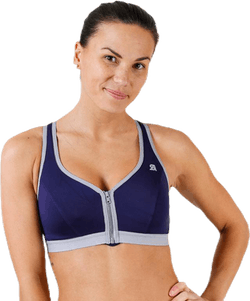 Active Zipped Plunge Bra Blue/Grey