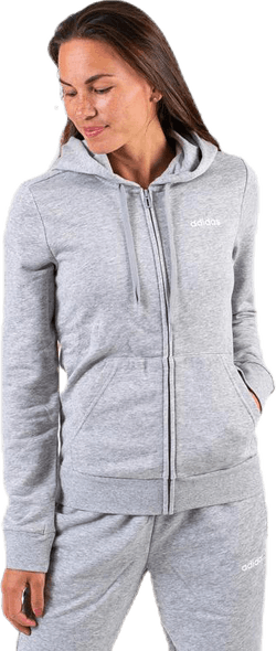 Essential Plain Full Zip Hood Grey