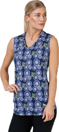Blossom Sleeveless Polo Blue/Patterned