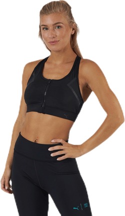 High Impact Front Zip Bra Black