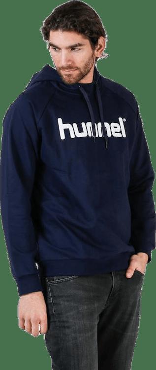 Cotton Logo Hoodie Blue