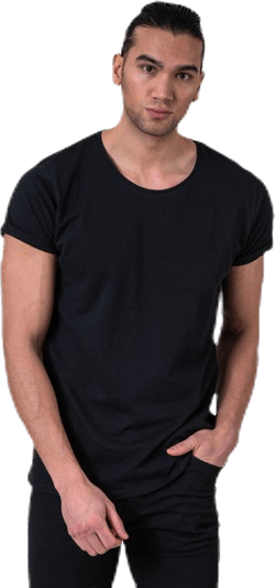 Jimmy Solid Cotton-linen Tee Black