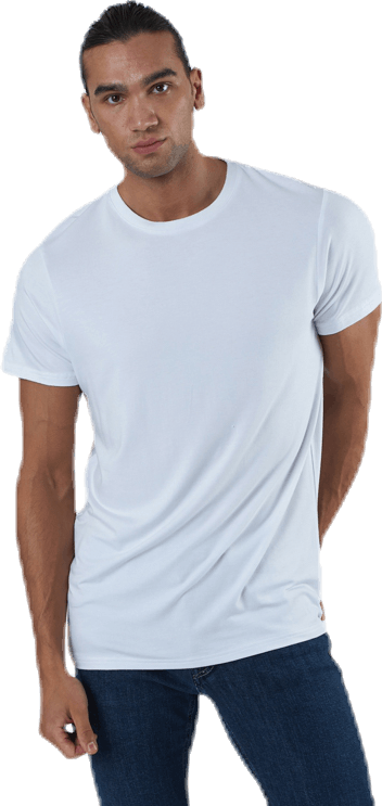 R-neck Bamboo Tee White