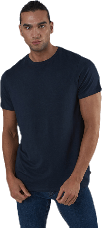 R-neck Bamboo Tee Blue