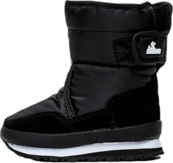 Nylon Swede Solid Kids Snow Joggers Black