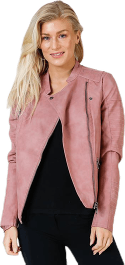 Ava Faux Leather Biker Otw Pink