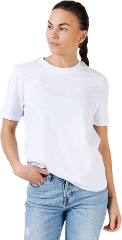 Ria Ss Fold Up Solid Tee White