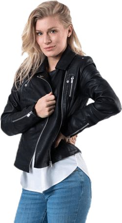 Gemma Faux Leather Biker Otw Black