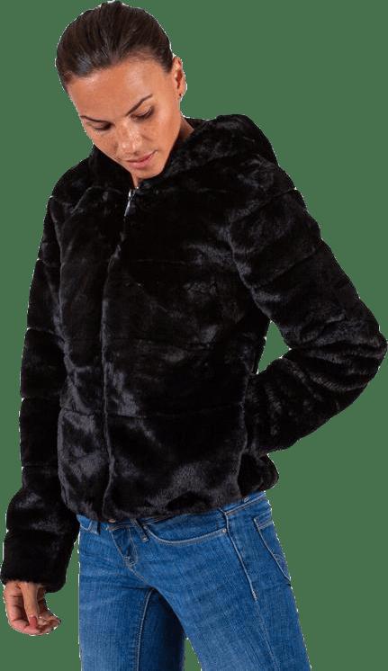 Chris Fur Hooded Jacket Otw Black