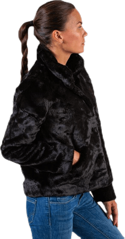 Vida Faux Fur Jacket Otw Black