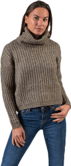 Chunky L/S Rollneck Pullover Beige