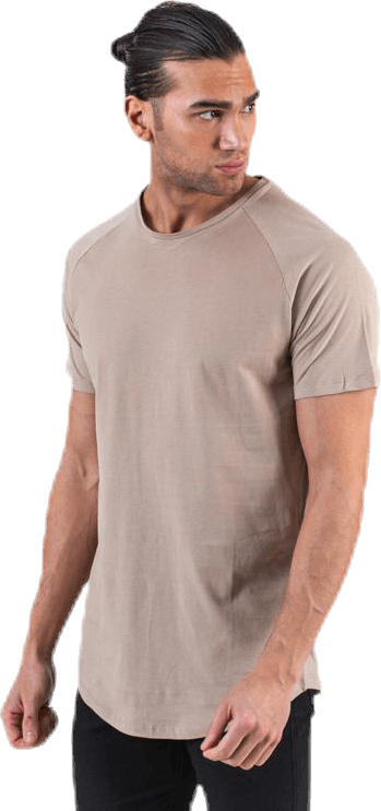Curved Tee Ss O-Neck Beige