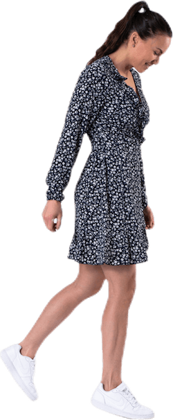 Carly L/S Wrap Short Dress Wvn Blue