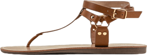 Maya Pu Ankle Wrap Sandal Brown