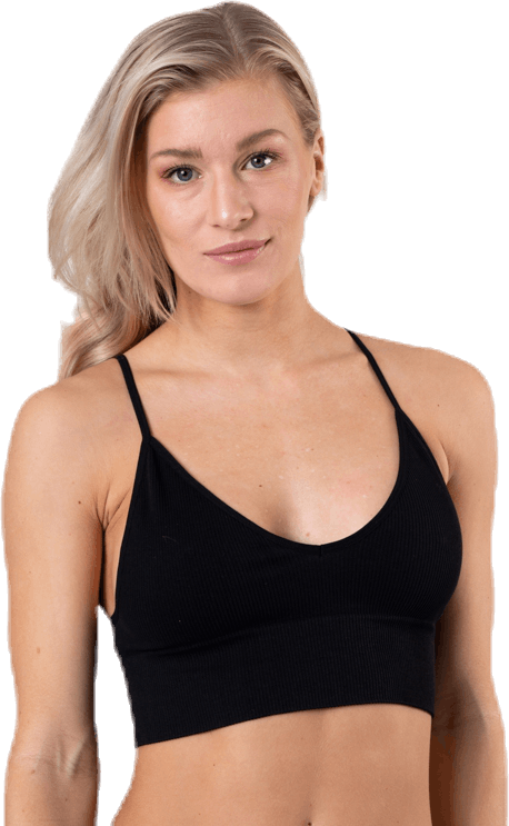 Vicky  Rib Seamless V-Neck Top Black