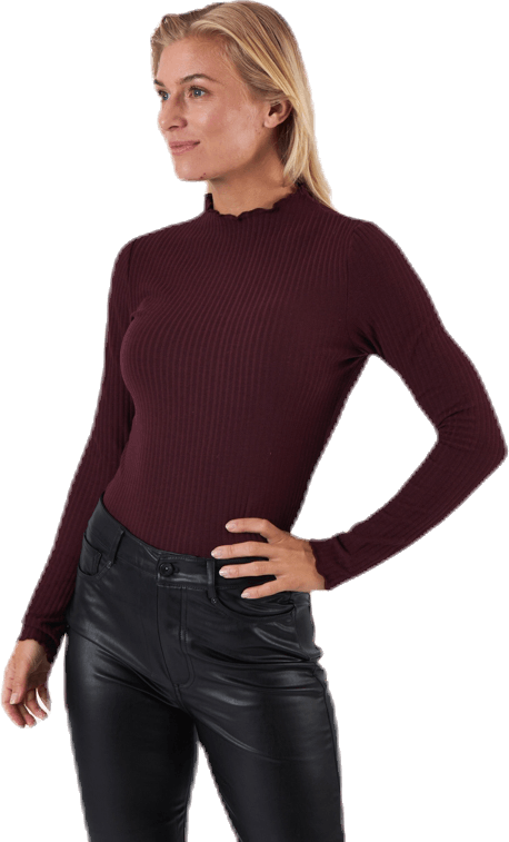 Emma L/S High Neck Top Jrs Brown