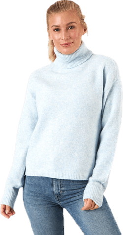 Skyla Ls Roll Neck Wool Knit Blue