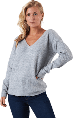 Babett Ls V-Neck Knit Grey