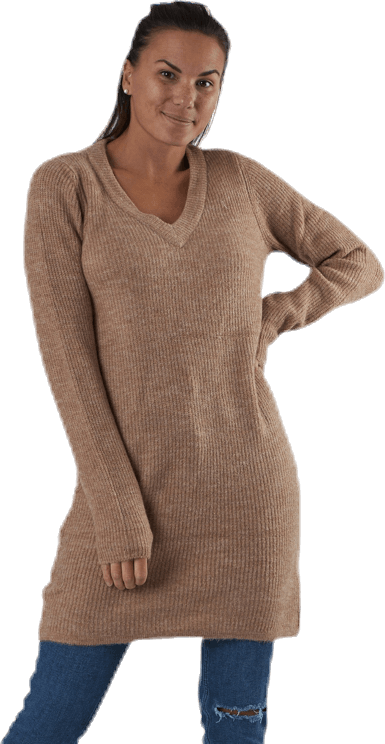 Ellen Ls V-Neck Knit Dress Beige