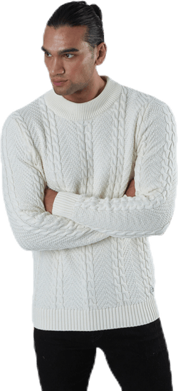 Julian Knit Cable High Neck White