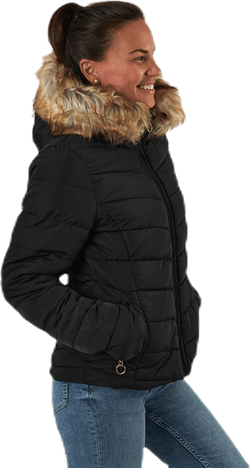 Newellan Quilted Fur Hood Jacket Otw Black