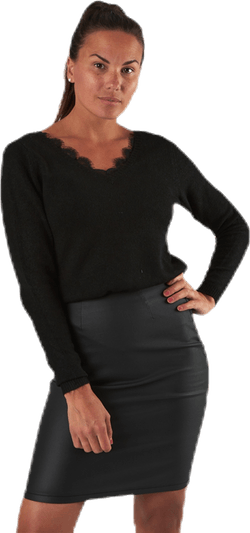 Julie L/S Lace V-Neck Pull Knt Black