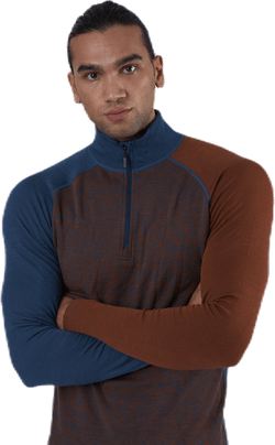 Geo Merino Wool Halfzip Blue/Red