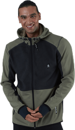 Fleece Zip Hood Green/Grey