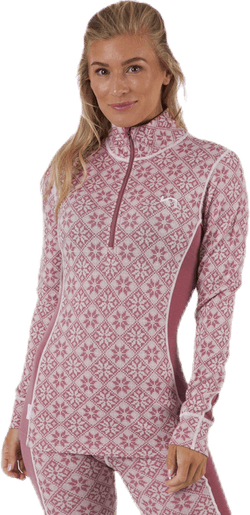 Rose Half-Zip Shirt Pink