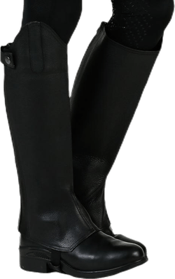Shortchaps Leather Wide Black